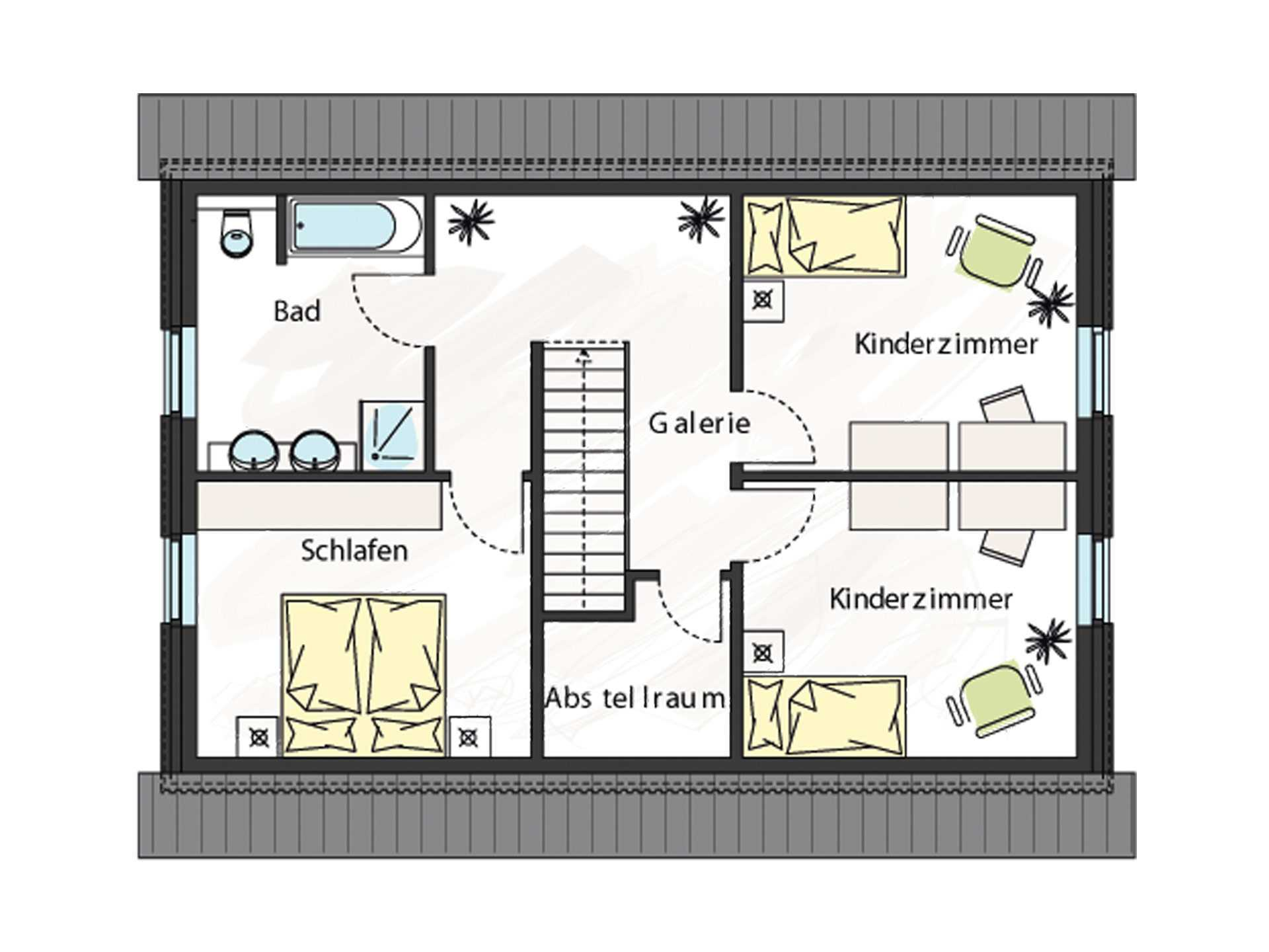 Grundriss Dachgeschoss Einfamilienhaus ProStyle 137 ProHaus