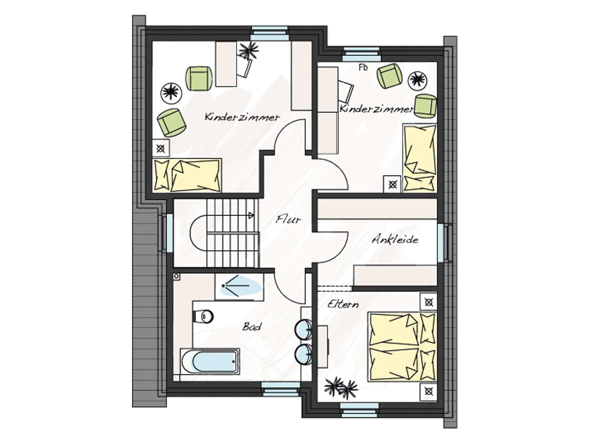 Grundriss Dachgeschoss Einfamilienhaus ProStyle 141 ProHaus
