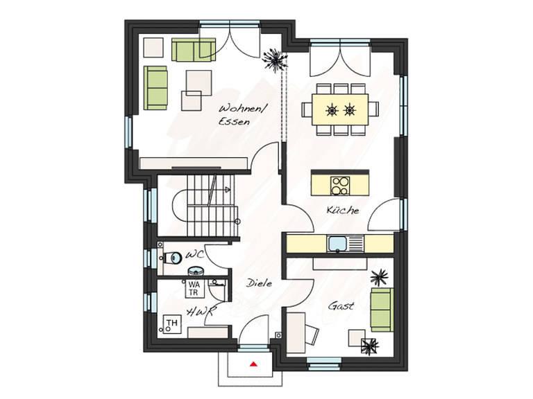 Grundriss Erdgeschoss Einfamilienhaus ProStyle 141 ProHaus