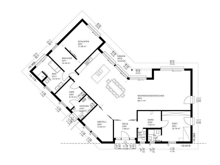 Bauhaus Bungalow Grundriss von Haacke Haus