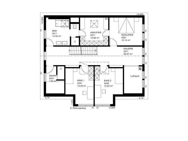 Modernes Landhaus Grundriss DG