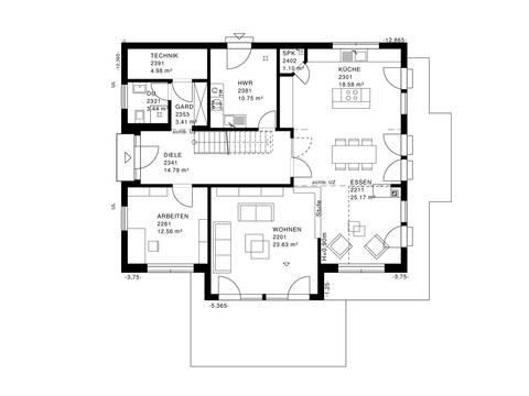 Modernes Landhaus Grundriss EG