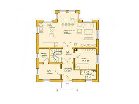 Grundriss Erdgeschoss Stadthaus 160S ABY-Haus