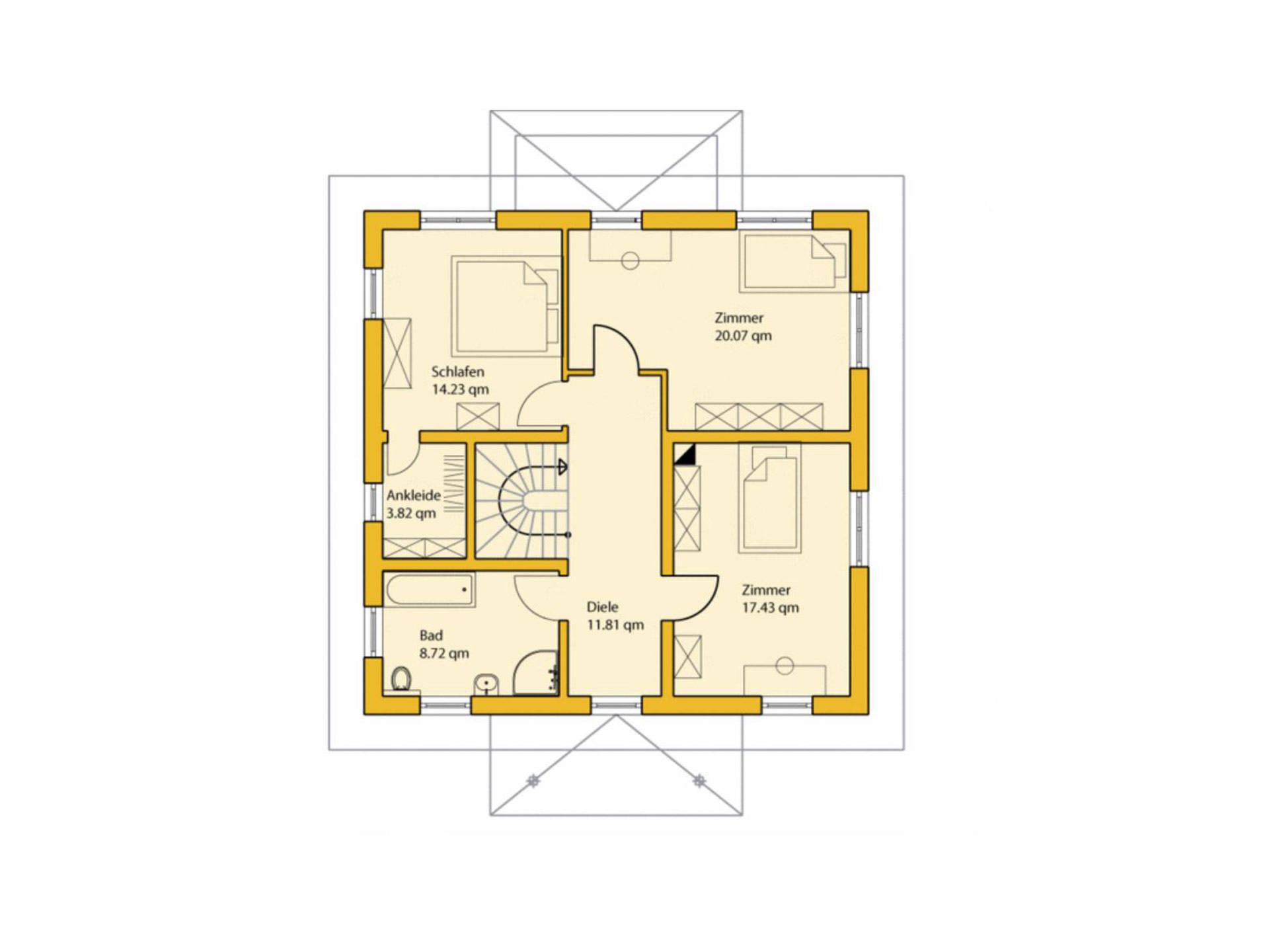 Grundriss Obergeschoss Stadthaus 160S ABY-Haus