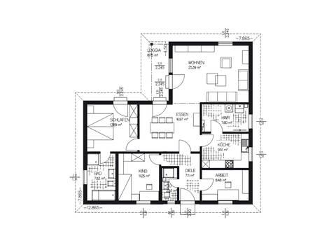 Winkelbungalow Grundriss EG von Haacke Haus