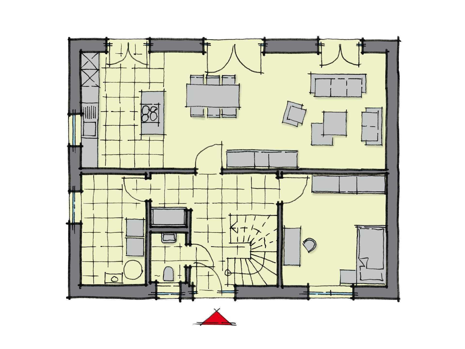 Grundriss Erdgeschoss Stadthaus Baixa GUSSEK-HAUS