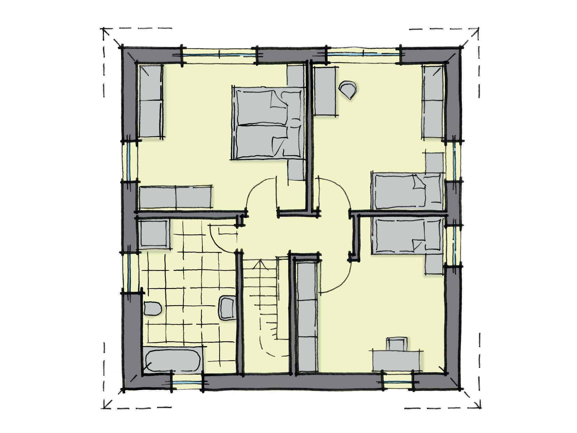 Grundriss Dachgeschoss Stadthaus Fulham GUSSEK-HAUS