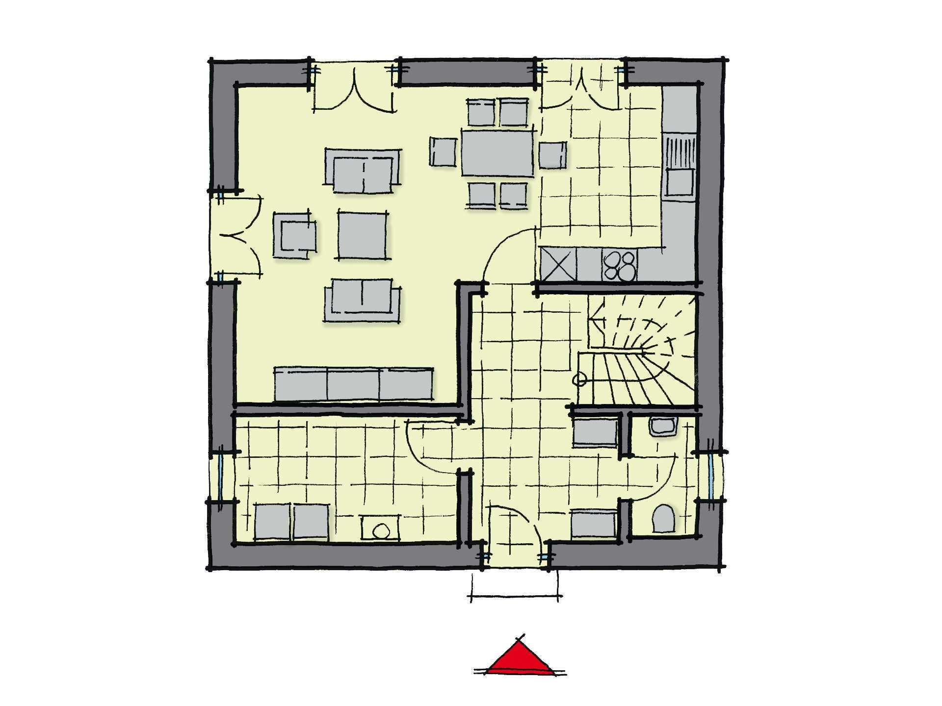 Grundriss Erdgeschoss Stadthaus Kensington GUSSEK-HAUS