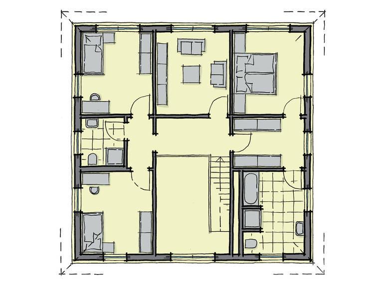Grundriss Dachgeschoss Stadthaus La Finca GUSSEK-HAUS