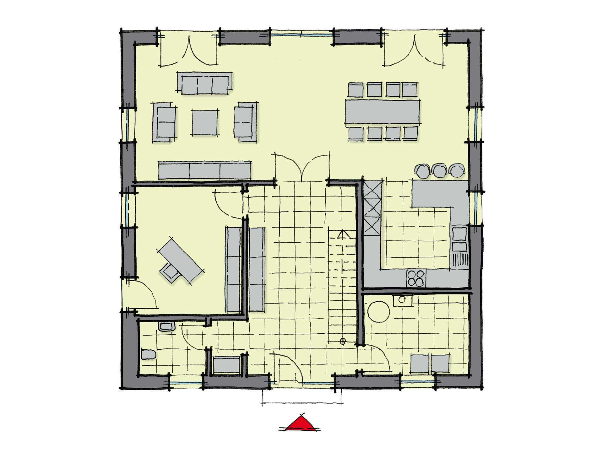 Grundriss Erdgeschoss Stadthaus La Finca GUSSEK-HAUS