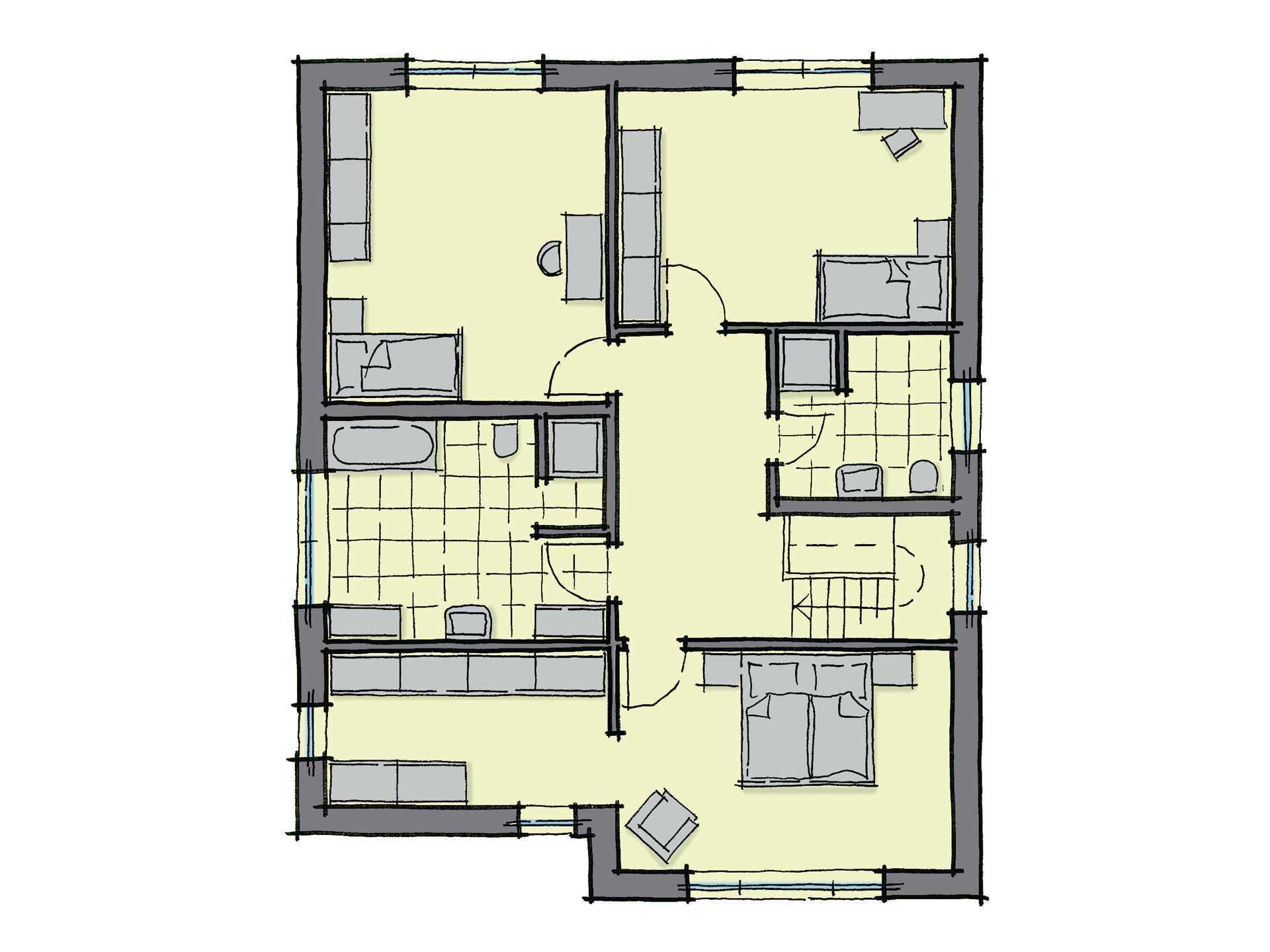 Grundriss Dachgeschoss Stadthaus Ostia GUSSEK-HAUS