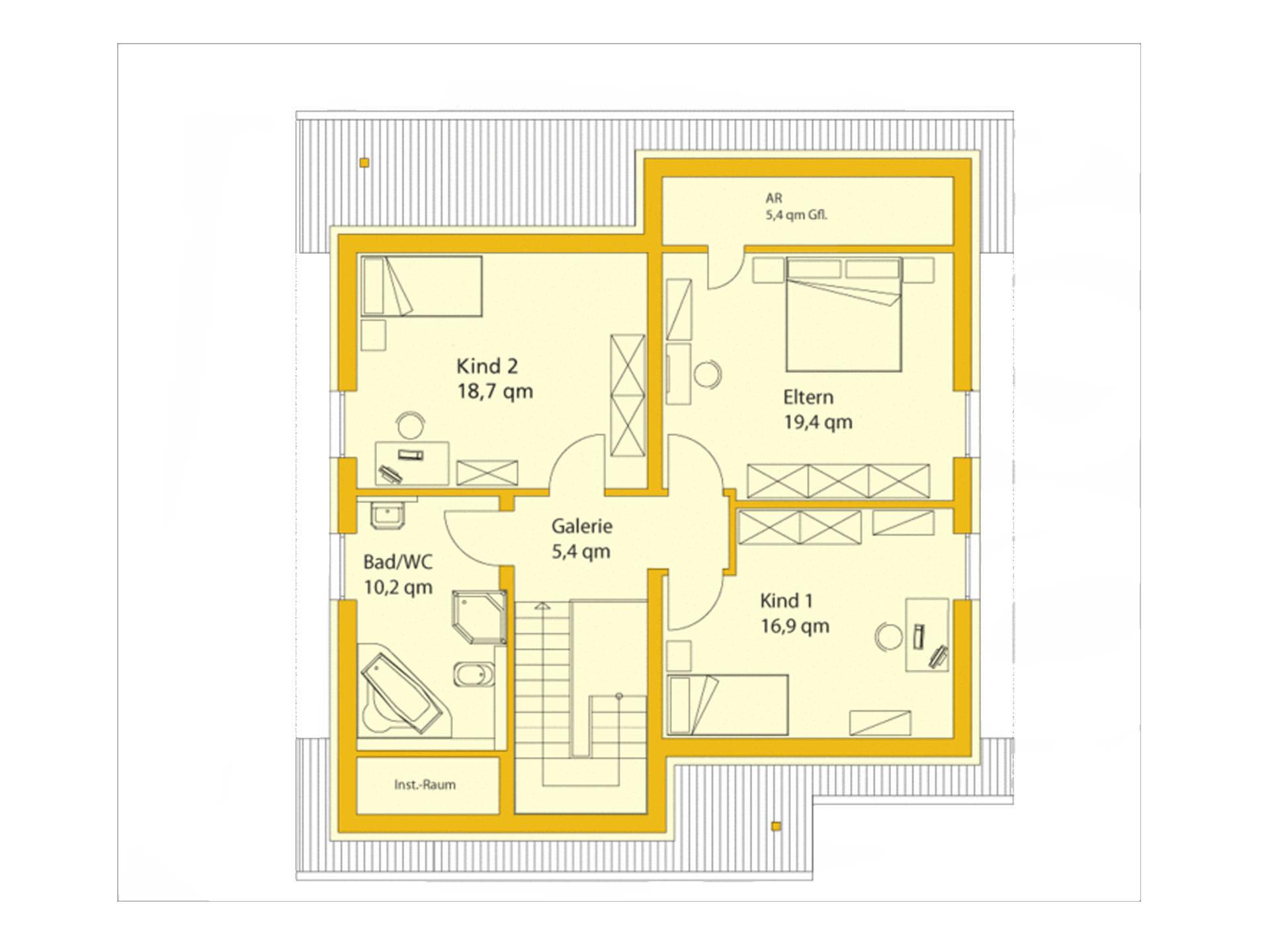 Grundriss Dachgeschoss EnergiePlusHaus ABY-Haus