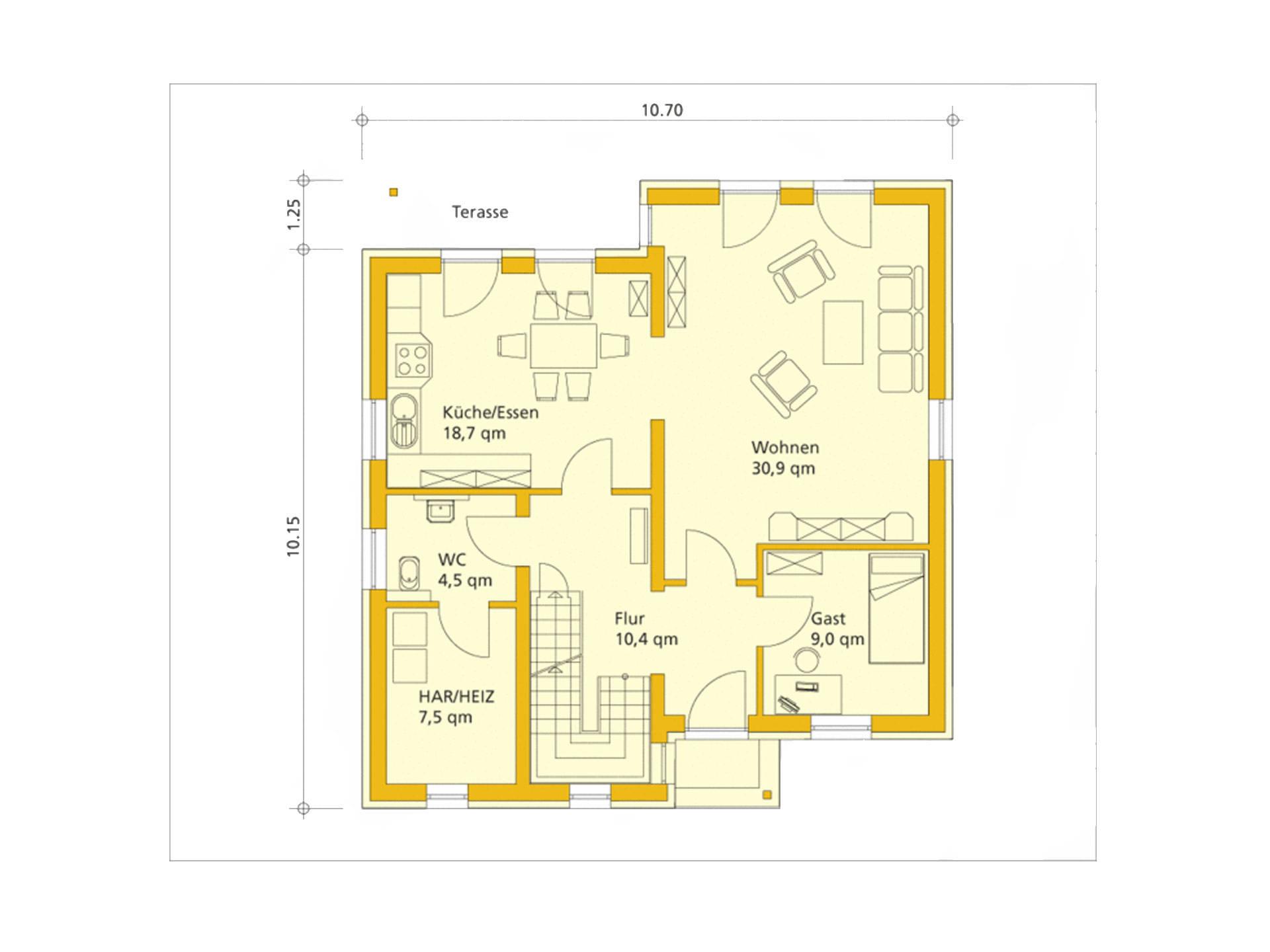 Grundriss Erdgeschoss EnergiePlusHaus ABY-Haus