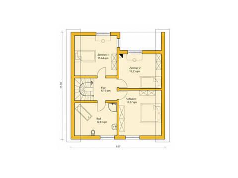 Grundriss Dachgeschoss Einfamilienhaus 146 ABY-HAUS