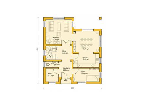 Grundriss Erdgeschoss Einfamilienhaus 146 ABY-HAUS