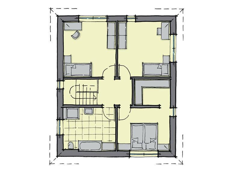 Grundriss Dachgeschoss Stadthaus Queens GUSSEK-HAUS