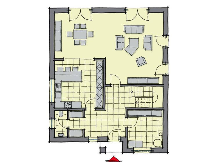 Grundriss Erdgeschoss Stadthaus Queens GUSSEK-HAUS