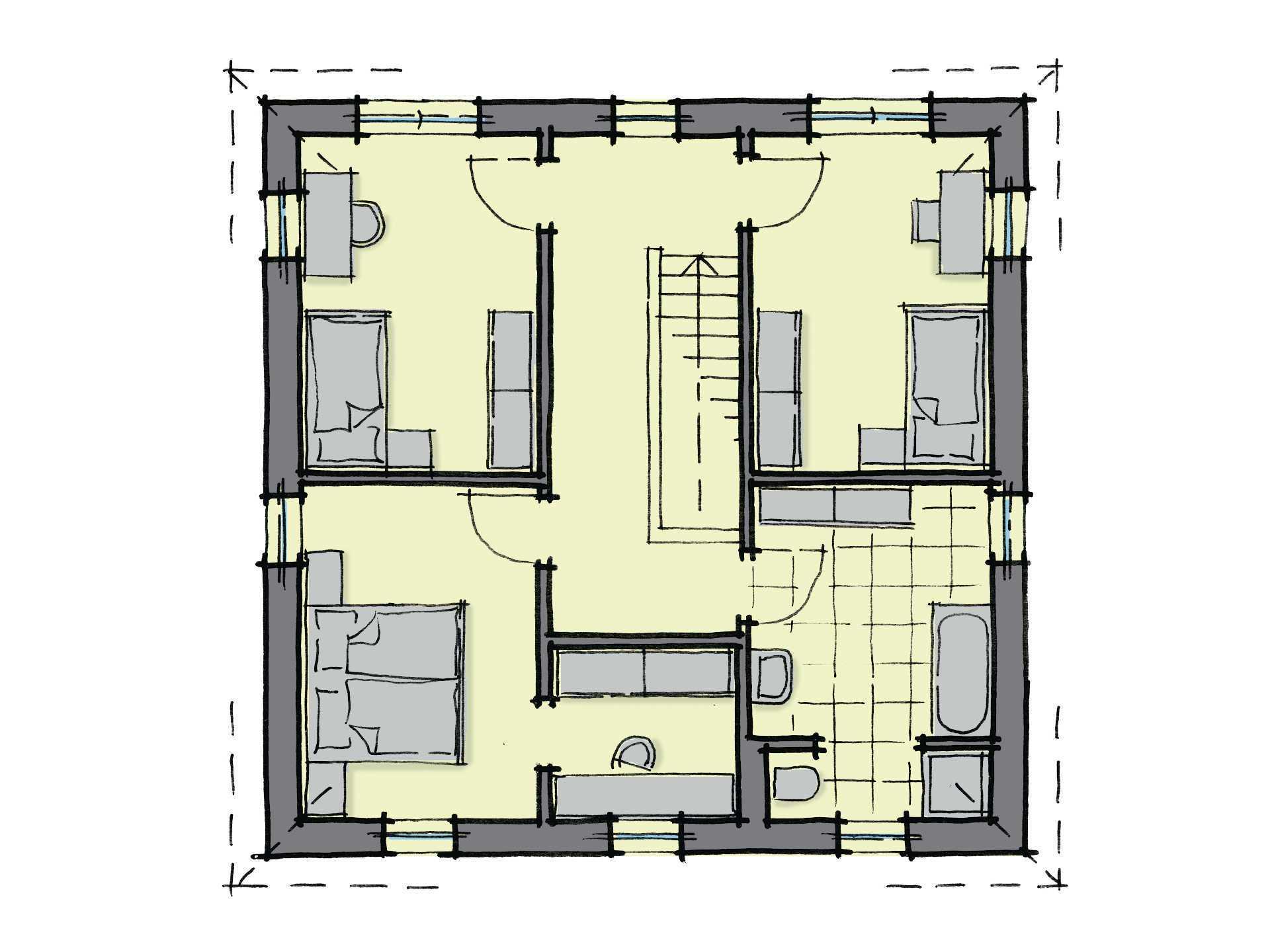 Grundriss Dachgeschoss Stadthaus Salvador GUSSEK-HAUS