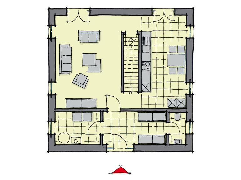 Grundriss Erdgeschoss Stadthaus Salvador GUSSEK-HAUS