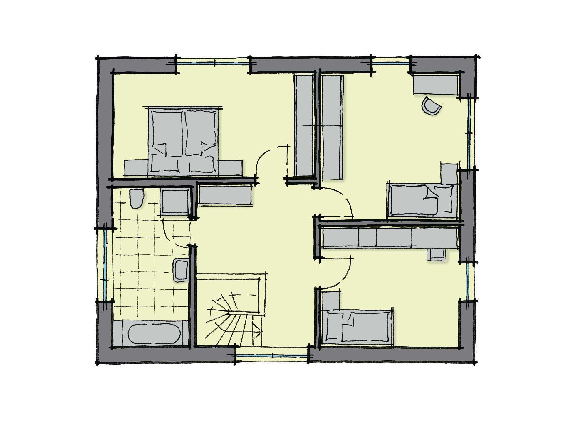 Grundriss Dachgeschoss Stadthaus Santa Fe GUSSEK-HAUS