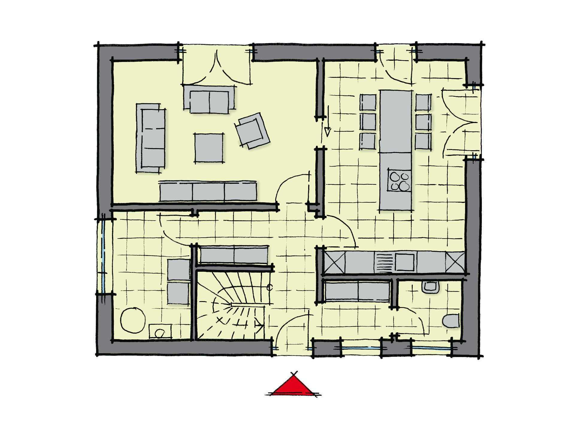 Grundriss Erdgeschoss Stadthaus Santa Fe GUSSEK-HAUS