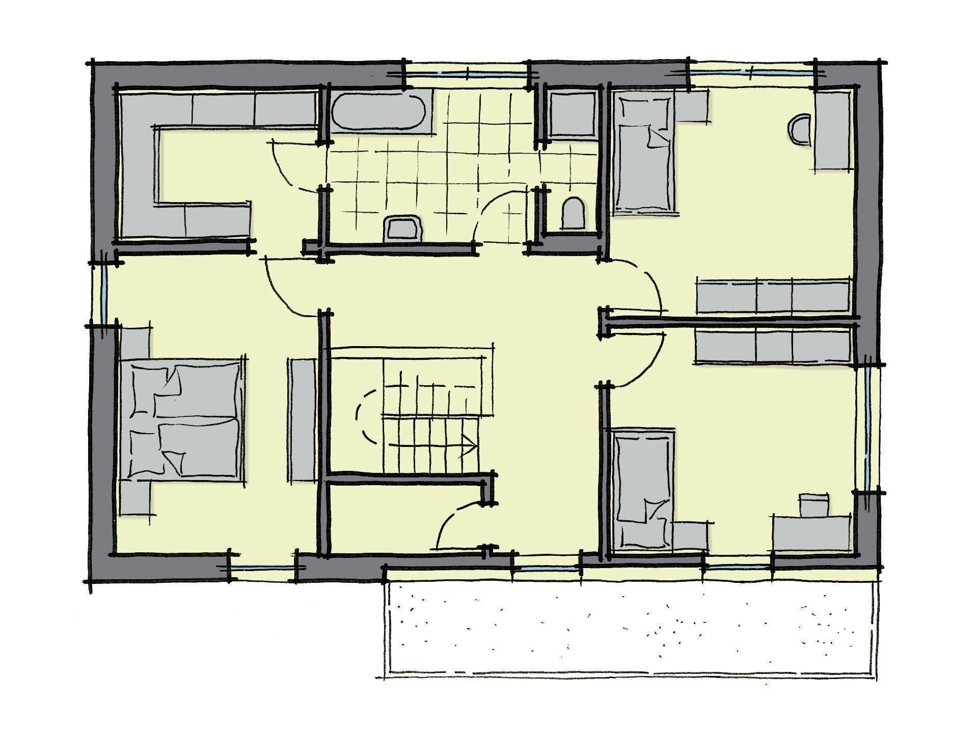 Grundriss Dachgeschoss Stadthaus Santiago GUSSEK-HAUS