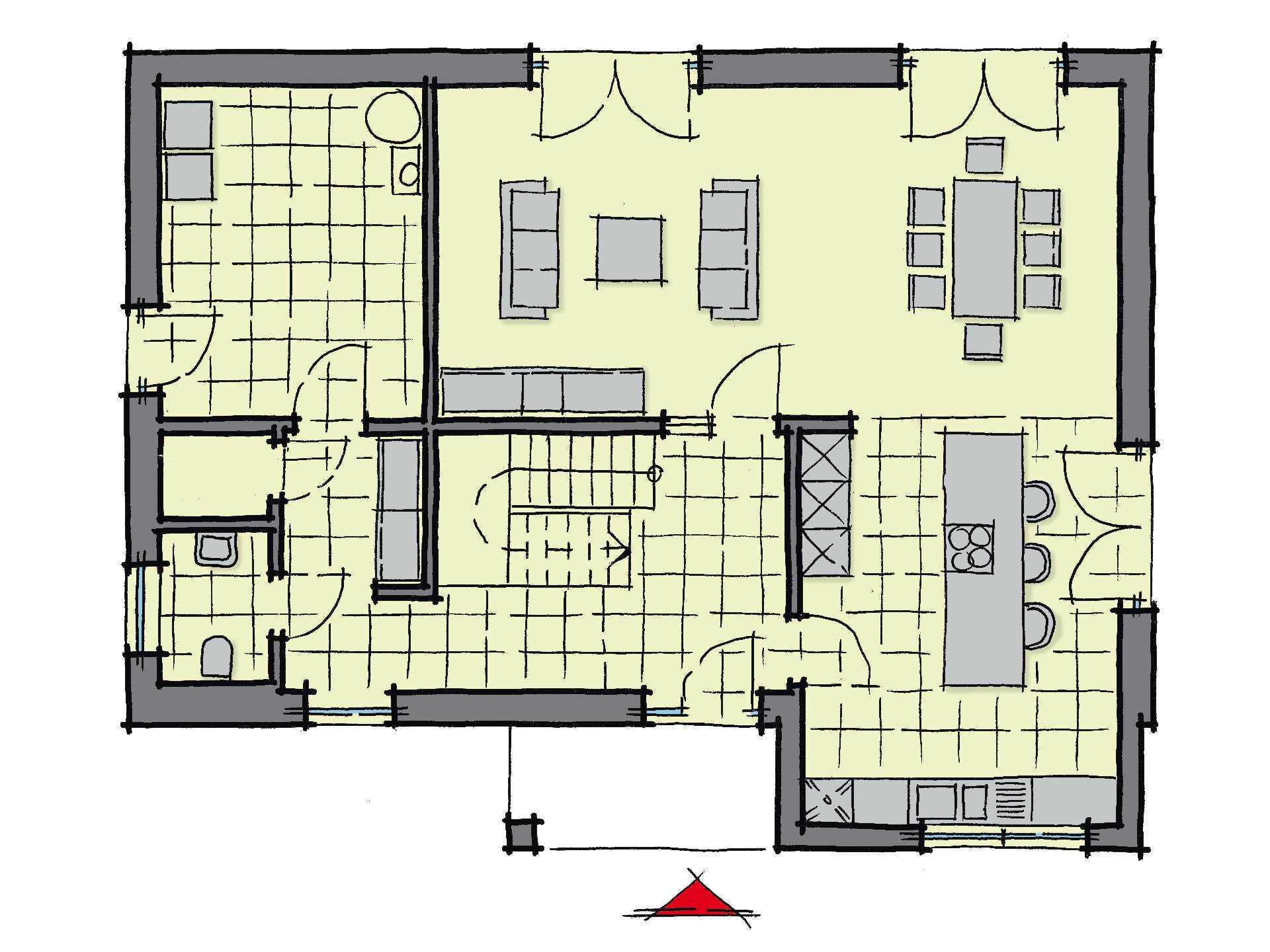 Grundriss Erdgeschoss Stadthaus Santiago GUSSEK-HAUS