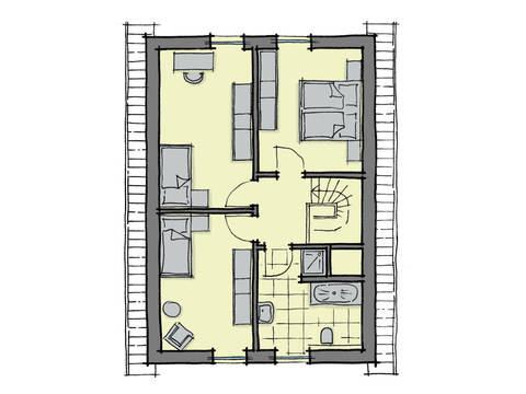 Grundriss Dachgeschoss Fertighaus Akazienallee GUSSEK-HAUS