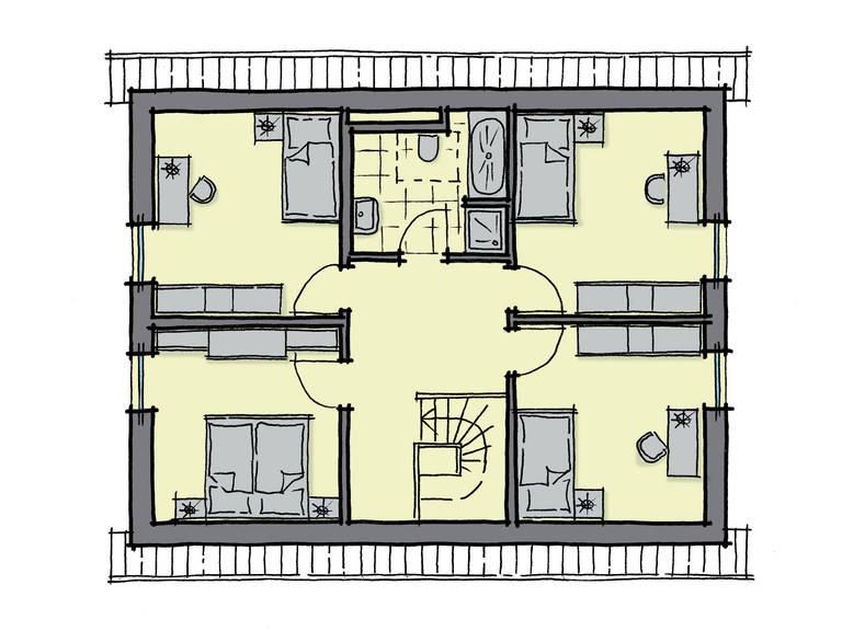 Grundriss Dachgeschoss Einfamilienhaus Birkenallee GUSSEK-HAUS