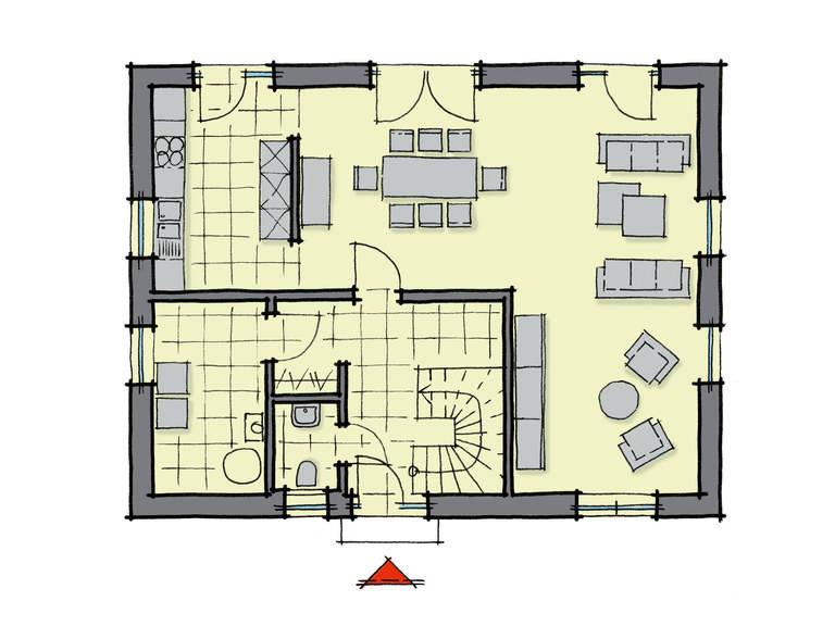 Grundriss Erdgeschoss Einfamilienhaus Birkenallee GUSSEK-HAUS