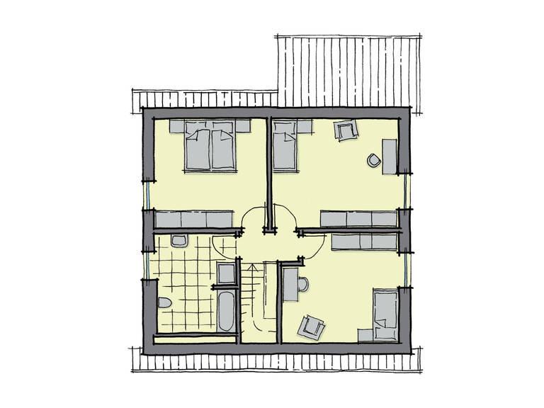 Grundriss Dachgeschoss Einfamilienhaus Buchenallee GUSSEK-HAUS