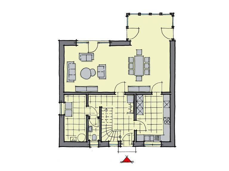 Grundriss Erdgeschoss Einfamilienhaus Buchenallee GUSSEK-HAUS