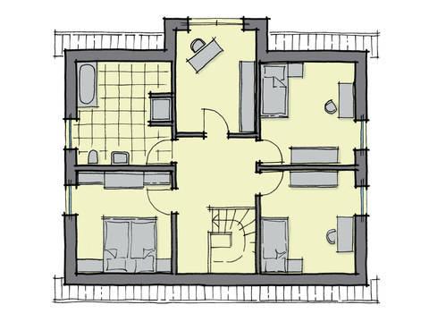 Grundriss Dachgeschoss Einfamilienhaus Birkenallee Variante 1 GUSSEK HAUS
