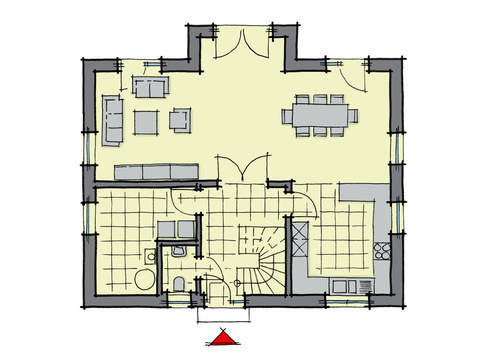 Grundriss Erdgeschoss Einfamilienhaus Birkenallee Variante 1 GUSSEK HAUS