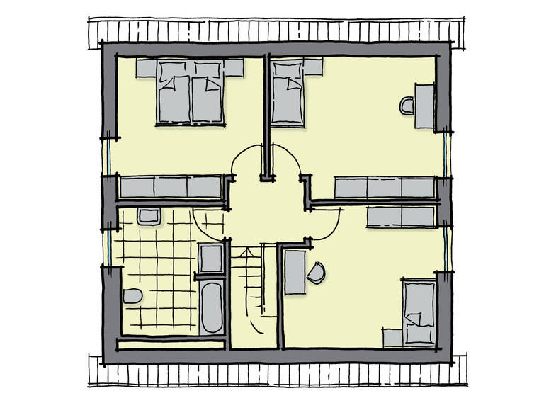 Grundriss Dachgeschoss Einfamilienhaus Buchenallee Variante 1 GUSSEK HAUS