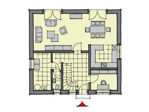 Grundriss Erdgeschoss Einfamilienhaus Buchenallee Variante 1 GUSSEK HAUS
