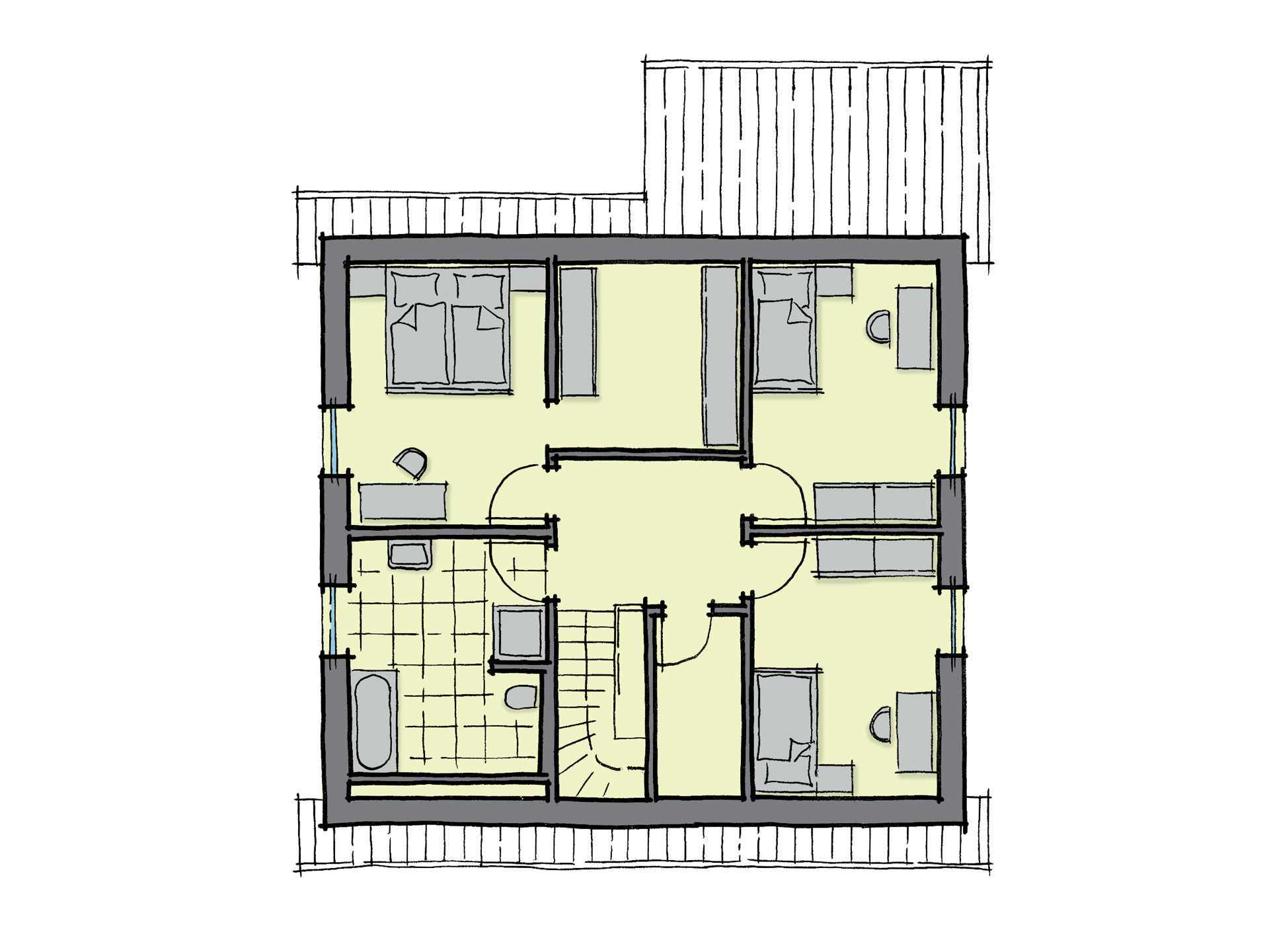 Grundriss Dachgeschoss Einfamilienhaus Buchenallee Variante 2 GUSSEK HAUS