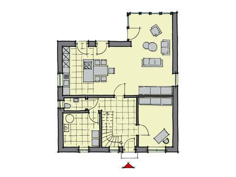 Grundriss Erdgeschoss Einfamilienhaus Buchenallee Variante 2 GUSSEK HAUS