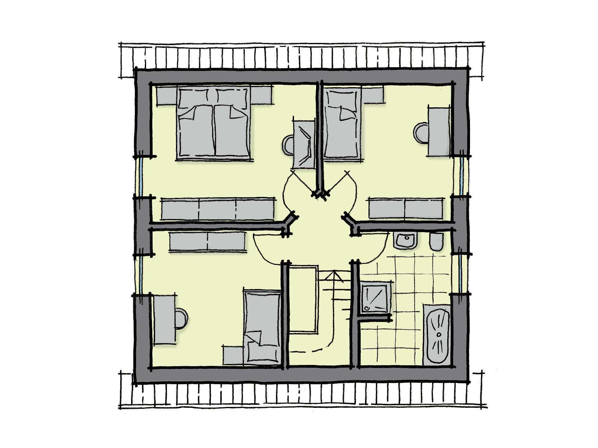 Grundriss Dachgeschoss Fertighaus Fliederallee GUSSEK HAUS