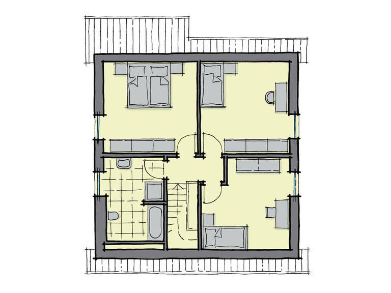 Grundriss Dachgeschoss Einfamilienhaus Buchenallee Variante 3 GUSSEK HAUS