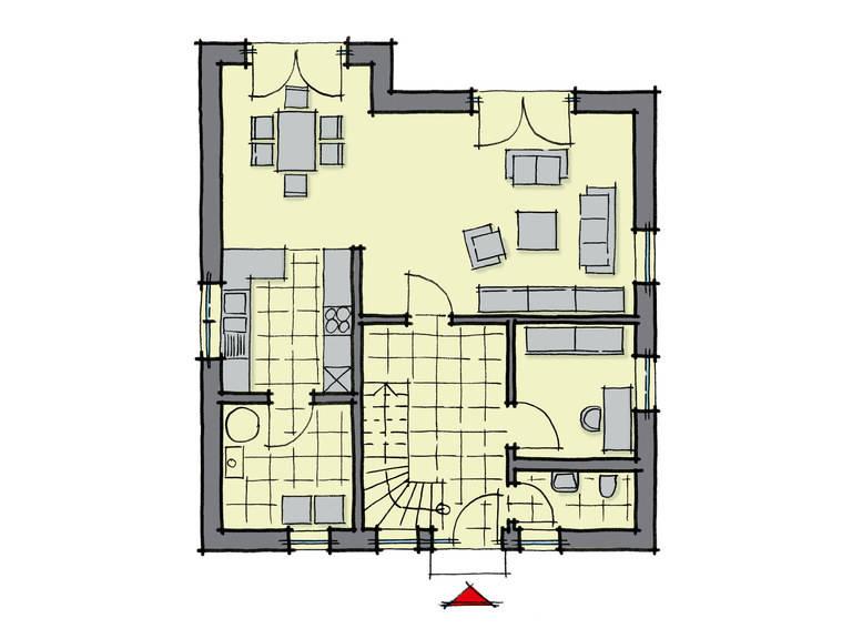 Grundriss Erdgeschoss Einfamilienhaus Buchenallee Variante 3 GUSSEK HAUS