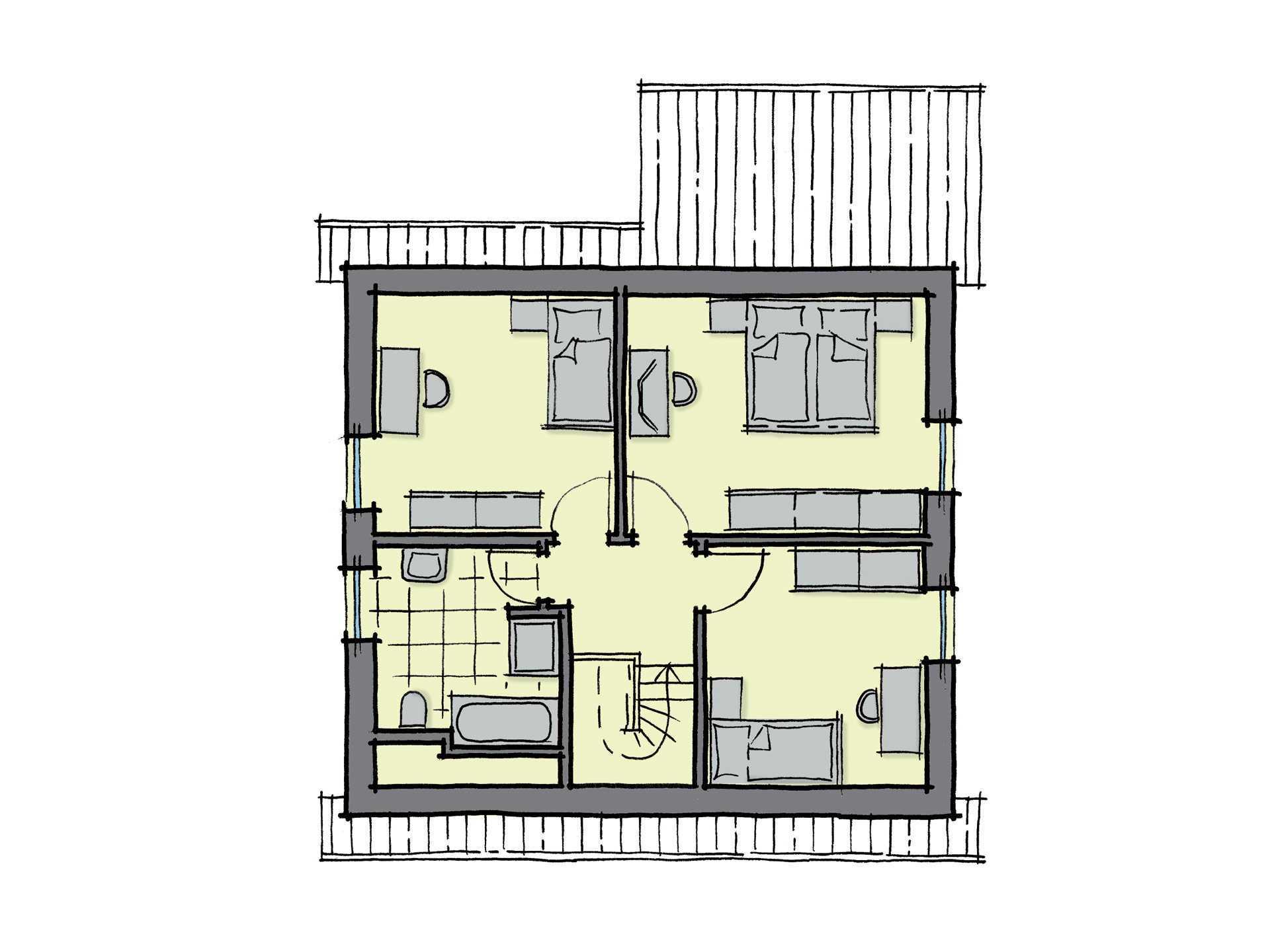 Grundriss Dachgeschoss Einfamilienhaus Kastanienallee GUSSEK HAUS