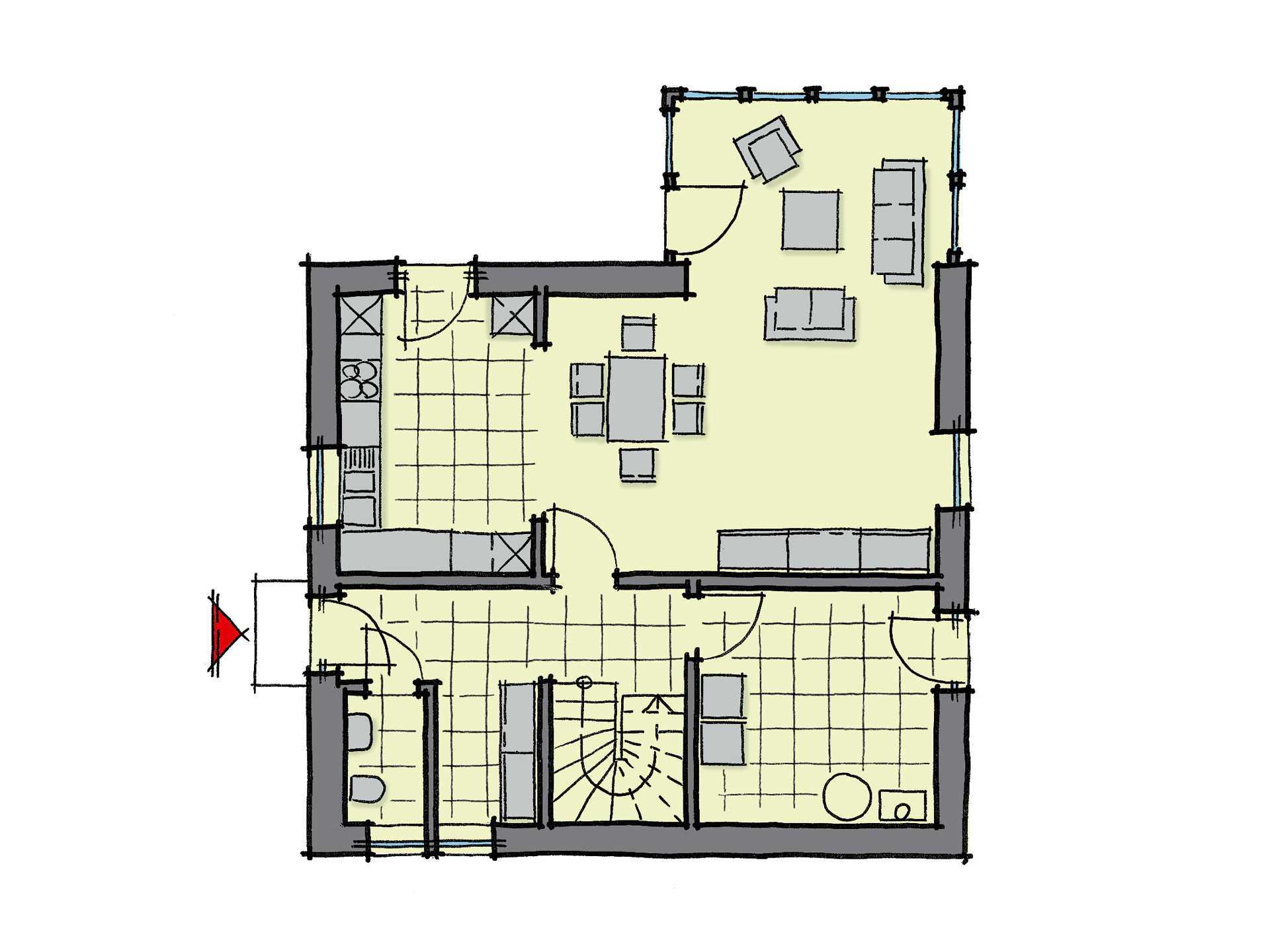 Grundriss Erdgeschoss Einfamilienhaus Kastanienallee GUSSEK HAUS