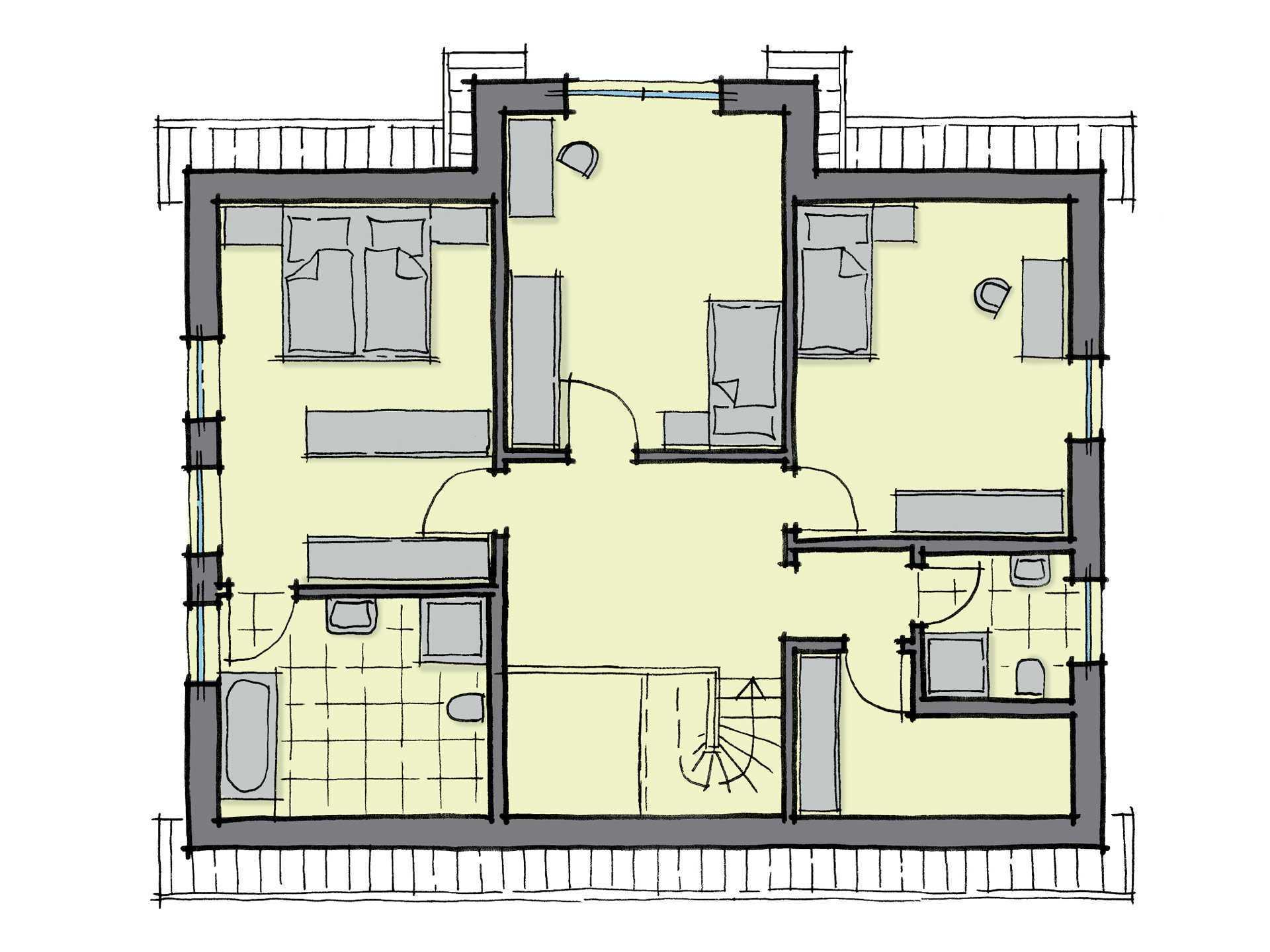 Grundriss Dachgeschoss Einfamilienhaus Kiefernallee GUSSEK HAUS