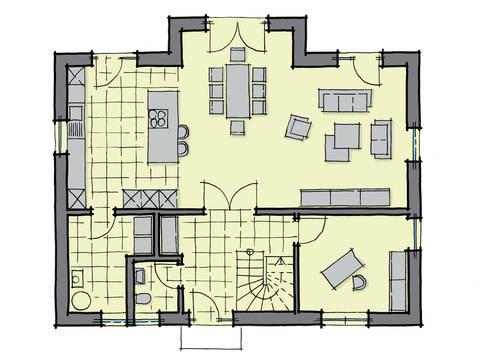 Grundriss Erdgeschoss Einfamilienhaus Kiefernallee GUSSEK HAUS