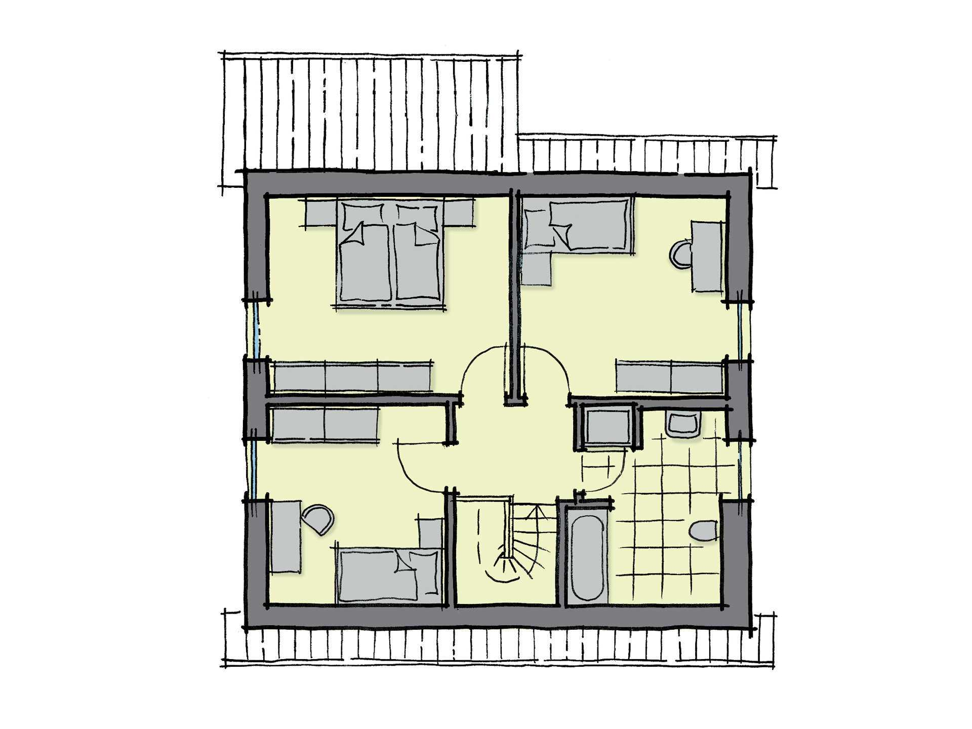 Grundriss Dachgeschoss Einfamilienhaus Kastanienallee Variante 1 GUSSEK HAUS