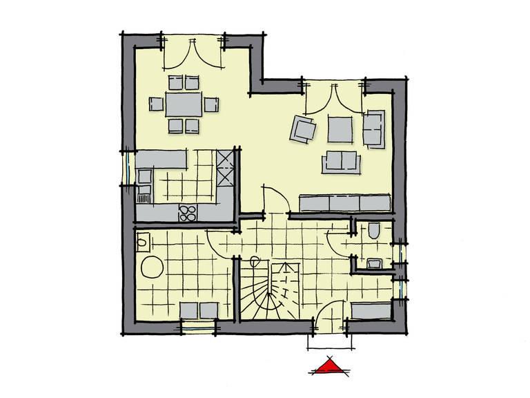 Grundriss Erdgeschoss Einfamilienhaus Kastanienallee Variante 1 GUSSEK HAUS