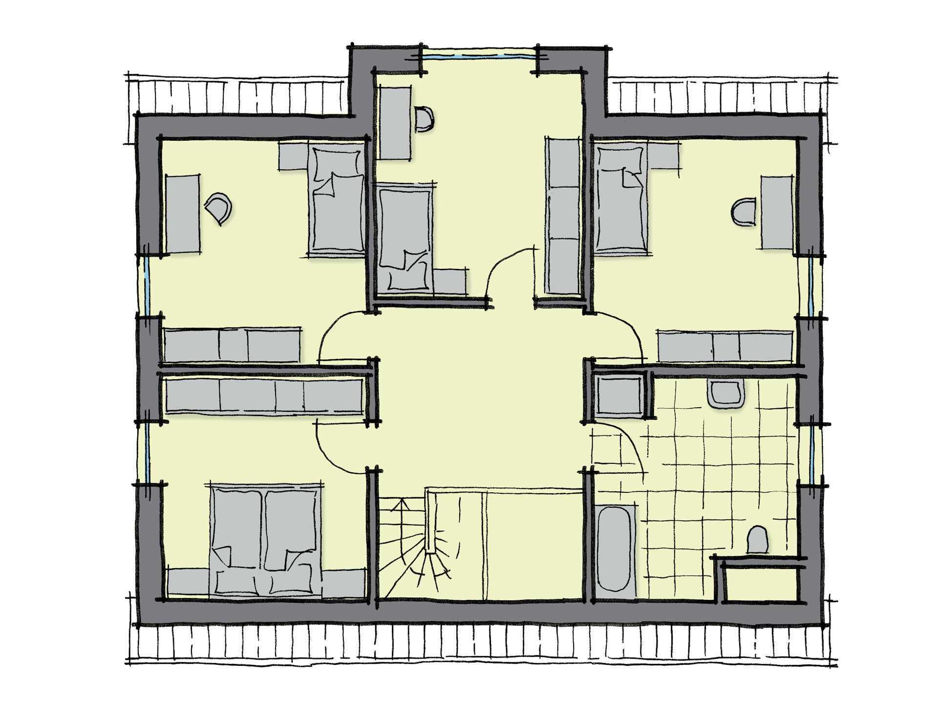 Grundriss Dachgeschoss Einfamilienhaus Kiefernallee Variante 1 GUSSEK HAUS