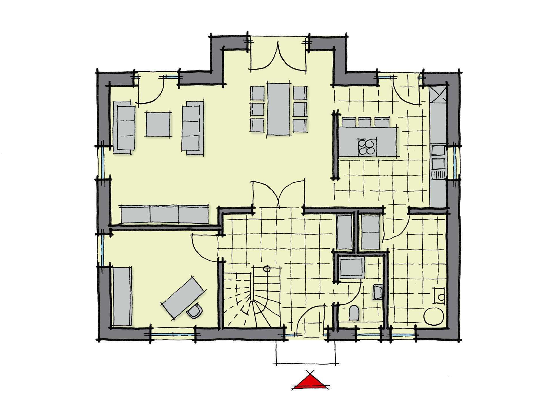 Grundriss Erdgeschoss Einfamilienhaus Kiefernallee Variante 1 GUSSEK HAUS