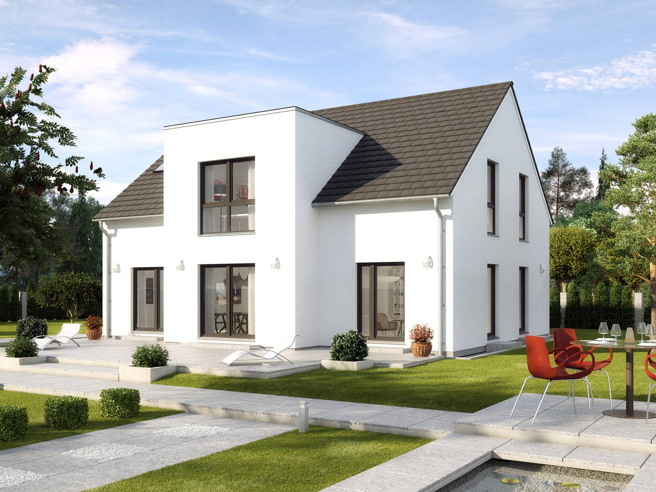 Einfamilienhaus Kiefernallee Variante 1 Außenansicht GUSSEK HAUS